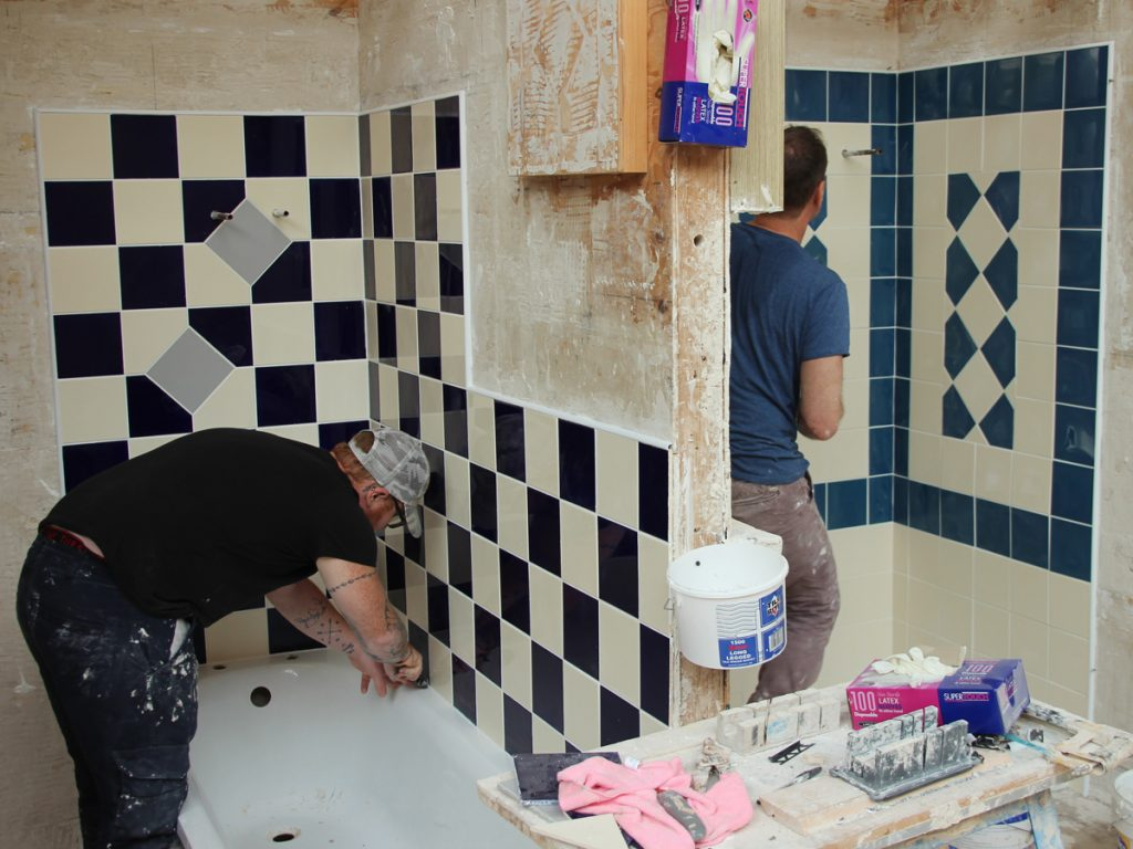 tiling bathrooms on the 10 day tiling course at YTA